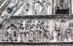 Bourges Cathedral, west facade, Last Judgment, Blessed being welcomed into Heaven