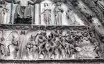 Bourges Cathedral, west facade, Last Judgment, souls being driven into Hell