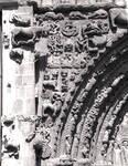 Sangueza, Church of Santa Maria la Real, south portal, spandrel, jumble of sculptures, real and fantastic animals