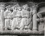 Arles, Church of St. Trophime, capital frieze, west facade, Three Magi bearing gifts