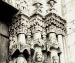 Chartres Cathedral, detail of the capital frieze, Royal Portal, west facade, south portal, south side