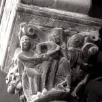 Jaca, Cathedral of S. Pedro, detail of capital, Sixtus of Gerona and Dacian, south portal, begun 1076, Romanesque, Aragon, Spain