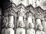 Chartres Cathedral, Kings and Queens, Royal Portal, west facade, central portal, south side heads of jamb figures