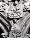 Santiago de Compostela, south facade, Praza das Praterias, spandrel above portals with Transfiguration and Abraham, vine scrolls