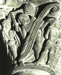 Jaca, Cathedral of S. Pedro, the Sacrifice of Issac, detail of capital, south portal, begun 1076, Romanesque, Aragon, Spain