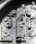 Santiago de Compostela, south facade, Praza das Praterias, left side of left tympanum with Temptation of Christ in the Desert (in fragments), Christ with angels