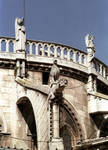 Burgos Cathedral, gargoyles, angels adorn exterior walls of the east end near the flying buttresses