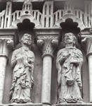 Moarves de Ojeda, Church of San Juan, Two apostles (third pair of apostles to the left of Christ), frieze above the portal Romanesque, early 12th century. Palencia, Spain