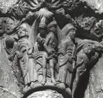 Santiago de Compostela, south facade, Praza das Praterias, spandrel, Adam and Eve before God