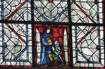 Rouen Cathedral, grisaille glass, monk with knightly donor