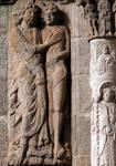Santiago de Compostela, south facade, Praza das Praterias, spandrel, left pier sculpture, Creation of Adam
