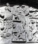 Santiago de Compostela, south facade, Praza das Praterias, center of left tympanum with Temptation of Christ in the Desert (in fragments)