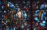 Rouen Cathedral, Good Samaritan Window (detail), the Good Samaritan arrives on his horse