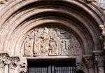Santiago de Compostela, south facade, Praza das Praterias, left tympanum with Temptation of Christ in the Desert (in fragments), on the right is the Woman Taken in Adultury with the skull of her lover in her lap