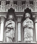 Moarves de Ojeda, Church of San Juan, Two apostles (second pair to the right of Christ), frieze above the portal Romanesque, early 12th century. Palencia, Spain