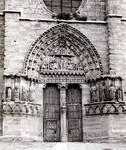 Sasamon Parish Church, south transept portal, Christ with Four Evangelist symbols and Four Evangelists writing their Gospels