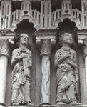 Moarves de Ojeda, Church of San Juan, St. John the Evangelist and St. Peter (first pair of apostles to the left of Christ), frieze above the portal Romanesque, early 12th century. Palencia, Spain