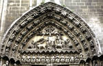 Burgos Cathedral south transept portal (Puerta del Sarmental) Christ in majesty flanked by the symbols of the Four Evangelists adorn the tympanum.