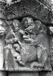 Moarves de Ojeda, Church of San Juan, Capital with Daniel in the Lion's Den, Romanesque, early 12th century. Palencia, Spain.
