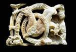 Church of Santa Maria, Piasca, Cabezon de Liebana, Jamb capital bird in foilate sculpture,  Cantabria, Spain
