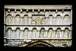 Church of Santa Maria la Real, lintels above portal with Christ in majestry surrounded by the symbols of teh Four Evangelists and flanked by images of the Apostles under rounded arches, Sanguesa