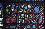 Rouen Cathedral, Joseph window (detail), apse, Joseph becomes a servant to Potipher and his wife, window 17