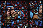 Rouen Cathedral, Good Samaritan Window (detail), the Good Samaritan places the wounded traveler on his horse