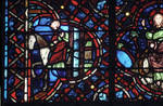Rouen Cathedral, Good Samaritan Window (detail), the Good Samaritan leads the wounded man to the hospital