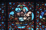 Rouen Cathedral, Good Samaritan Window (detail), care given to the wounded man
