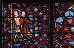 Rouen Cathedral, Good Samaritan Window (detail), care is lavished on the wounded man to the hospital