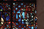 Rouen Cathedral, Good Samaritan Window (detail), a robber hidden in the house watches for the Good Samaritan