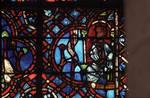 Rouen Cathedral, Good Samaritan Window (detail), a robber hidden in the house watches for the Good Samaritan