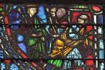 Rouen Cathedral, St. Joseph Window, apse, window 17, Potipher imprisons Joseph