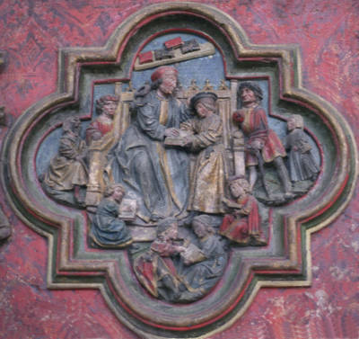 Amiens Cathedral, choir screen detail, learning
