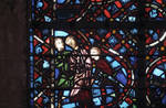Rouen Cathedral, Good Samaritan Window (detail lower left), the traveler is attacked by robbers