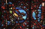 Rouen Cathedral, Good Samaritan Window (detail), the robbers flee, carrying their spoils