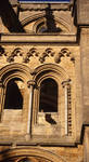 Ely Cathedral, exterior sculpted crobel heads leering and fearful