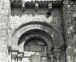 Mosteiro (monastery), detail of tympanum, portal, west facade, c. 1100, Romanesque, Meis, Salnes area of Pontevedra Province, Galicia, Spain