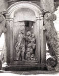 San Andres De Hio Church, base of the Cruceiros with image of souls in Purgatory with Christ opening the door (or maybe the Harrowing of Hell?),18th century, by sculptor Xose Cerviio (Pepe da Pena), Late Baroque, Hio, Galicia, Spain