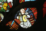 Sens Cathedral, St. Stephen's Cathedral, Angelic Musician Plays Cymbals, detail of north transept rose window, Flamboyant Gothic stained glass, early 16th century, France.