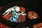 Sens Cathedral, St. Stephen's Cathedral, Angelic Musician Blows Horn, detail of north transept rose window, Flamboyant Gothic stained glass, early 16th century, France.