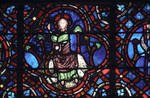 Rouen Cathedral, Good Samaritan Window (detail apex), Christ in majesty on a hill with trees