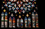 Sens Cathedral, St. Etienne (St. Stephen), north transept rose window, 1516, Flamboyant Gothic, stained glass, France.