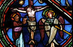 Sens Cathedral, St. Etienne (St. Stephen), apse window L, Good Samaritan Window, Crucifixion, 13th century, Gothic, stained glass, France.