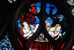 Sens Cathedral, St. Etienne (St. Stephen), south transept rose window, Last Judgment, 1516, Flamboyant Gothic, stained glass, France.