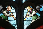 Sens Cathedral, St. Stephen's Cathedral, Angelic Musicians Plays Trumpet, detail of north transept rose window, Flamboyant Gothic stained glass, early 16th century, France.