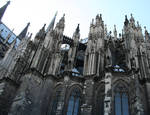 Cologne (Koln) Cathedral of St. Peter and St. Mary, detail of choir, buttresses, High Gothic, Cologne, Germany