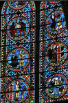 Sens Cathedral, St. Etienne (St. Stephen), Choir, Window C, 13th century, Saint Stephen Window, Gothic stained glass, France.