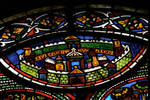 Sens Cathedral, St. Etienne (St. Stephen), apse window L, Good Samaritan Window, City of Jerusalem, 13th century, Gothic, stained glass, France.