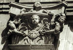 San Marcos, former Mother House of the Military/Religious Order of Santiago. Built in the 12th century (Romanesque), rebuilt in the Plateresque Style 1513-1539 by Juan de Badajoz, close up of capital of a pilaster on facade, Leon, Spain